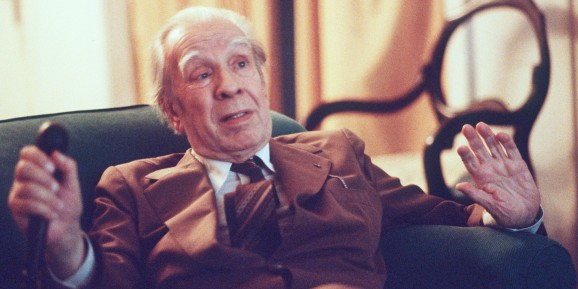 Argentina's writer Jorge Luis Borges talks in his Buenos Aires apartment on Nov. 20, 1981. (AP Photo/Eduardo Di Baia)